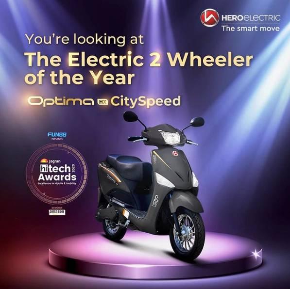 Hero Electric Optima HX won the Electric 2 Wheeler of the Year award.